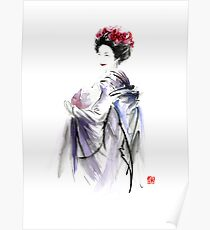 Geisha Japanese woman in Tokyo fresh flowers kimono original Japan painting art Poster