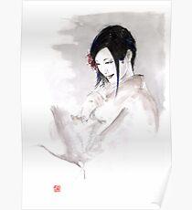 Geisha Japanese woman dream clouds crane bird portrait young girlsumi-e original painting art print Poster