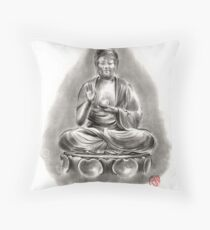 Buddha Medicine sumi-e tibetan calligraphy 禅 figure sculpture original ink painting artwork Throw Pillow
