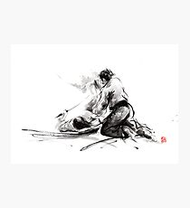 Samurai sword bushido katana martial arts budo sumi-e original ink painting artwork Photographic Print