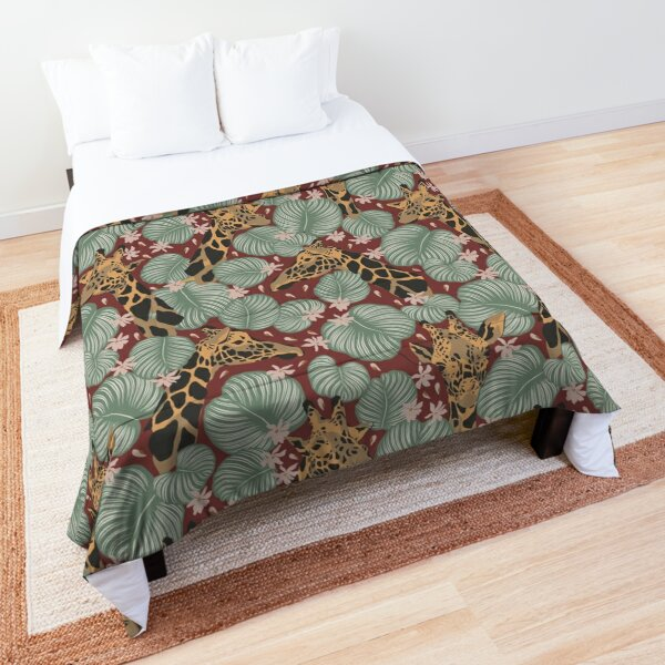 Giraffes In The Jungle On A Spiced Apple Background Comforter