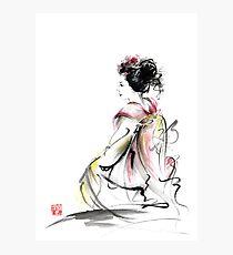 Geisha Japanese woman young girl in Tokyo kimono fabric design original Japan painting art Photographic Print