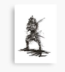 Samurai sword bushido katana martial arts sumi-e original ink armor yoroi painting artwork Canvas Print