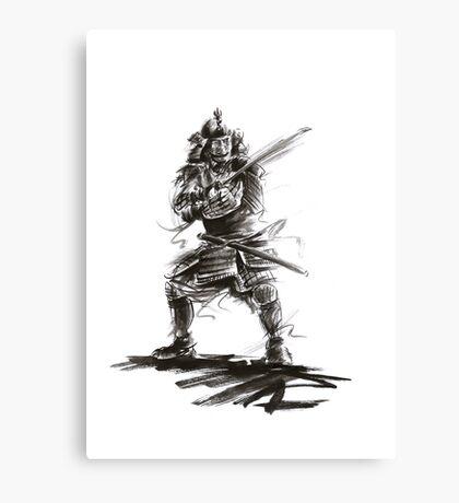 Samurai sword bushido katana martial arts sumi-e original ink armor yoroi painting artwork Canvas Print