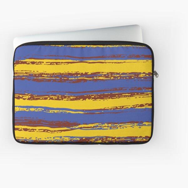 Horizontal Blue, Yellow & Burnt Sienna Stripes Laptop Sleeve