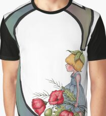Initial C, Alphabet Letter, Girl with Poppies, Color Pencil Art Graphic T-Shirt