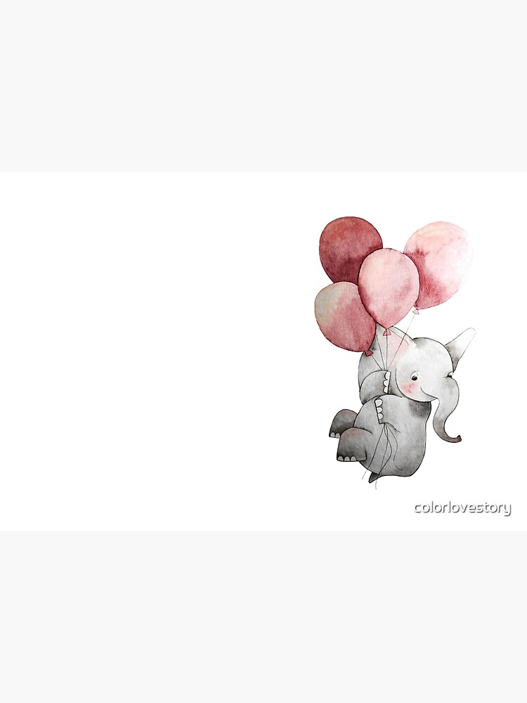 Baby Elephant with Balloons by colorlovestory