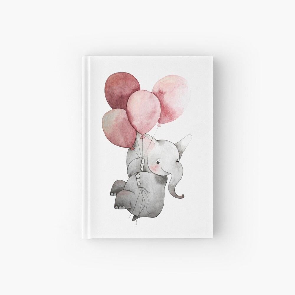 Baby Elephant with Balloons Hardcover Journal