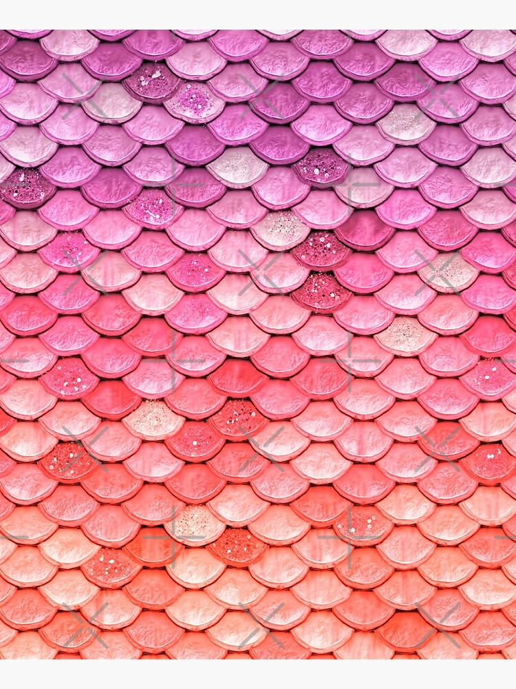 Rose Gold Blush Sparkle Faux Glitter Mermaid Scales by UtArt
