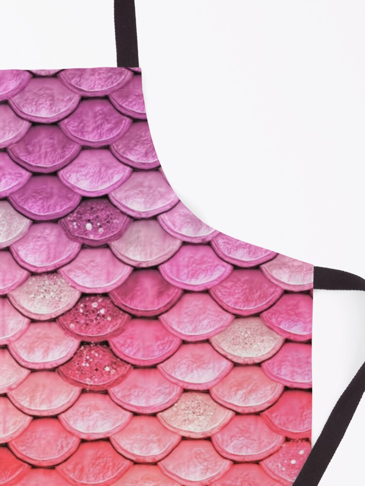 Alternate view of Rose Gold Blush Sparkle Faux Glitter Mermaid Scales Apron