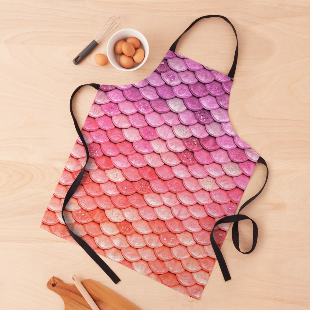 Rose Gold Blush Sparkle Faux Glitter Mermaid Scales Apron