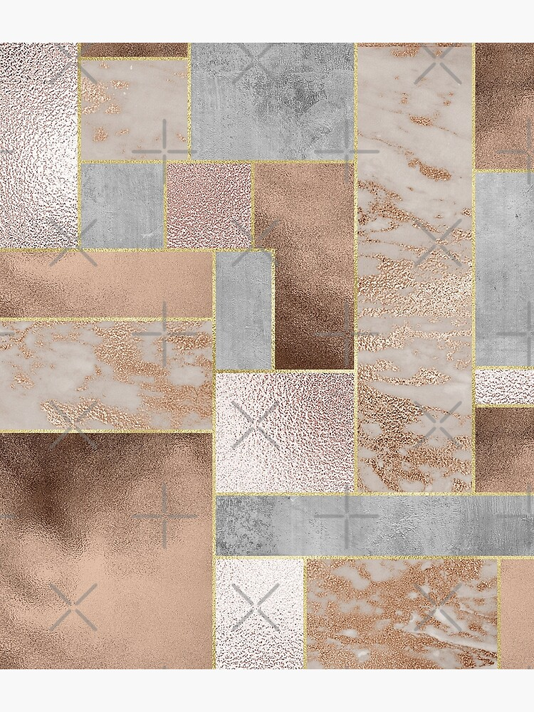 Copper and Blush Rose Gold Marble Quadrangle Plaid Pattern by UtArt