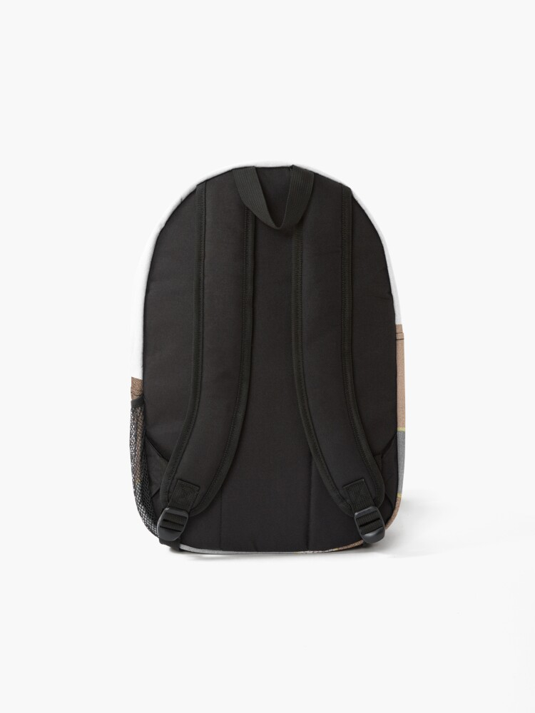 Alternate view of Copper and Blush Rose Gold Marble Quadrangle Plaid Pattern Backpack