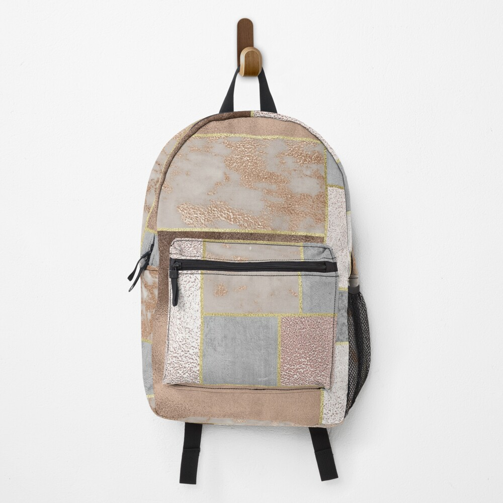 Copper and Blush Rose Gold Marble Quadrangle Plaid Pattern Backpack