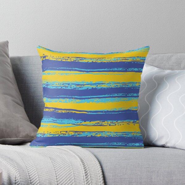 Horizontal Blue,Yellow, Light Turquoise Stripes Throw Pillow