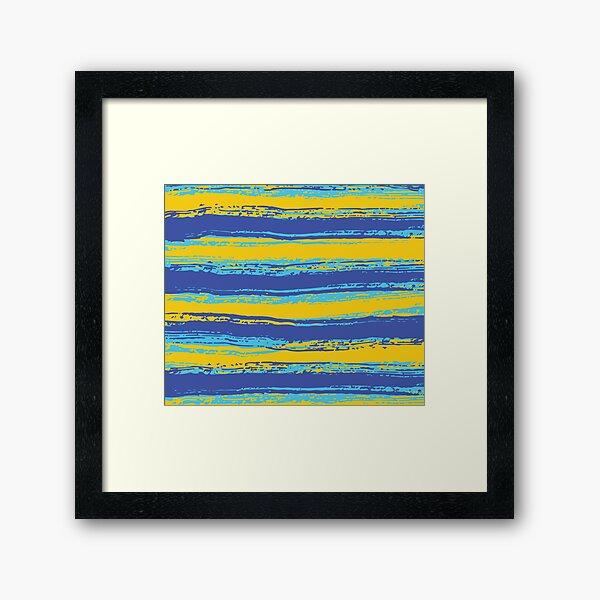 Horizontal Blue,Yellow, Light Turquoise Stripes Framed Art Print