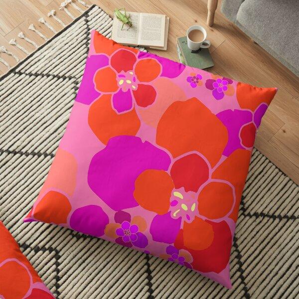 Neon Pink Flower Power Floor Pillow