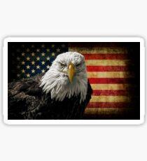 American Bald Eagle on Grunge Flag Sticker