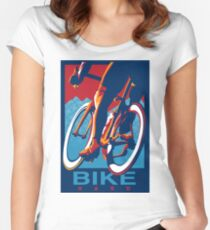 Retro styled motivational cycling poster: Bike Hard Tailliertes Rundhals-Shirt