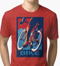 Retro styled motivational cycling poster: Bike Hard Tri-blend T-Shirt