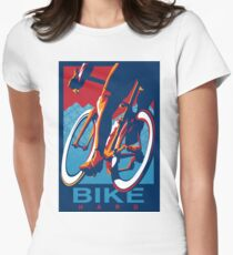 Retro styled motivational cycling poster: Bike Hard Women's Fitted T-Shirt