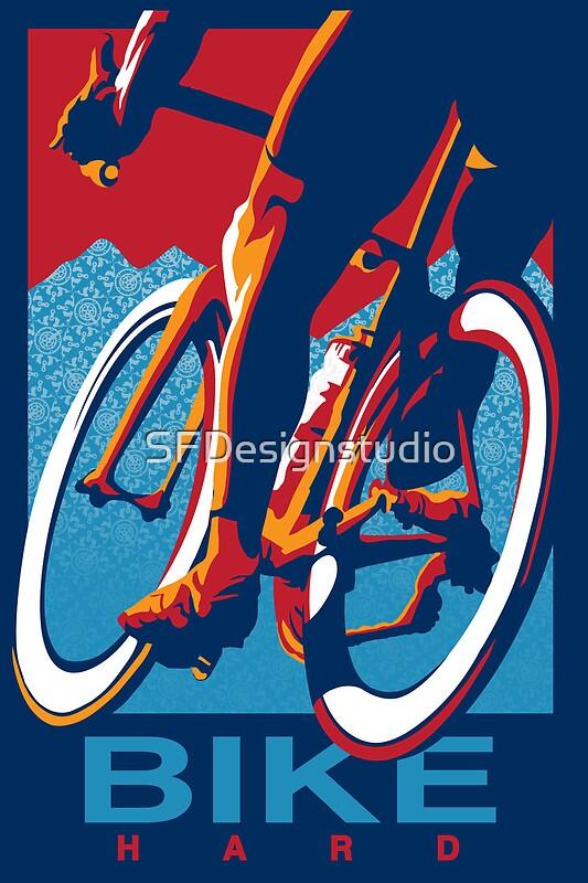 """Retro styled motivational cycling poster: Bike Hard ..."