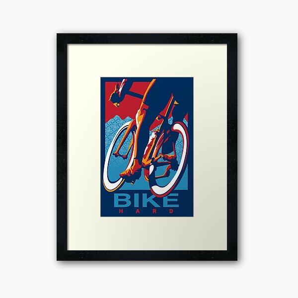 Retro styled motivational cycling poster: Bike Hard Framed Art Print