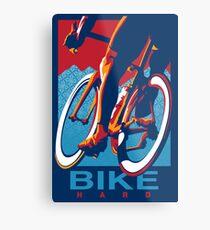 Lienzo metálico Cartel de ciclismo motivacional de estilo retro: Bike Hard