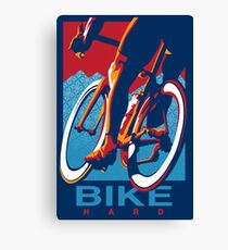 Retro styled motivational cycling poster: Bike Hard Canvas Print