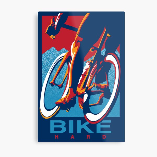 Motiviertes Radsportplakat im Retro-Stil: Bike Hard Metallbild
