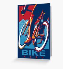 Tarjeta de felicitación Cartel de ciclismo motivacional de estilo retro: Bike Hard