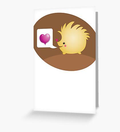 Cute little hedgehog saying LOVE Greeting Card