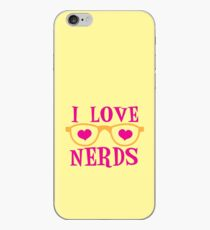 I love NERDS with cute nerdy Glasses and heart iPhone Case