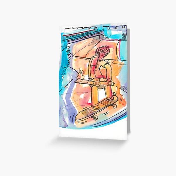 Skateboarder Watercolor Greeting Card