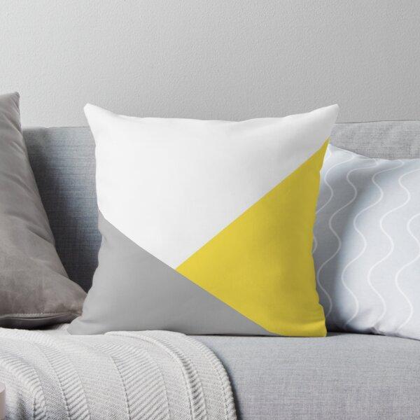 Yellow, grey and white print  Throw Pillow