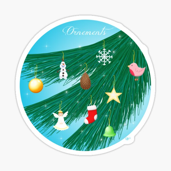 Ornements (ornaments) - Christmas greeting card Sticker