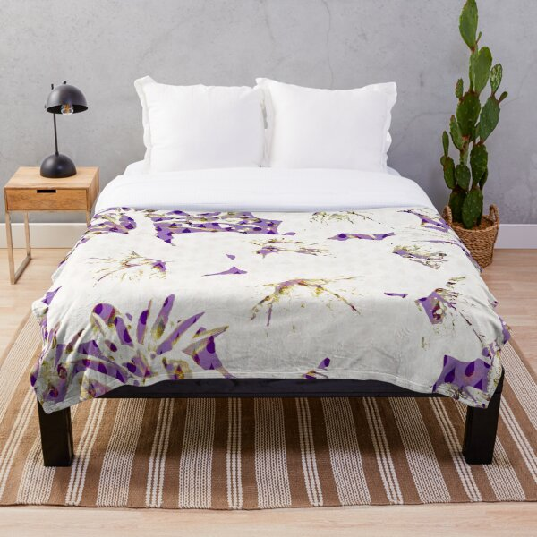 Floral White on Purple with Raindrops Throw Blanket