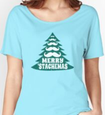 Merry Christmas Mustache Tree Women's Relaxed Fit T-Shirt