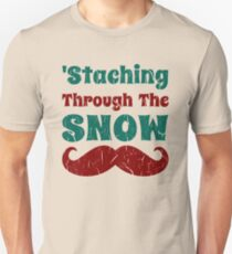 Christmas Mustache Staching Through The Snow Unisex T-Shirt