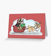 Christmas Corgis: Red Greeting Card