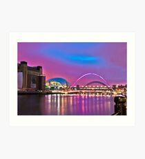 Pink Newcastle upon Tyne Quayside Art Print