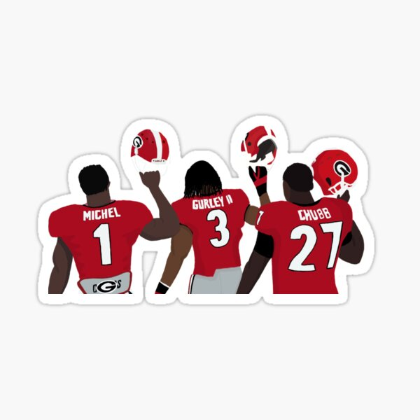 Nick Chubb, Sony Michel, Todd gurley uga  Sticker