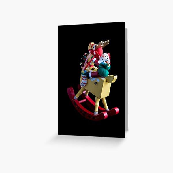 Santa on His Rocking Rednosed Reindeer Greeting Card