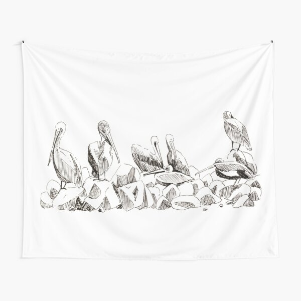 Hanging out - Flock of Pelicans Tapestry