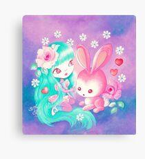Pink Bunny Love Canvas Print