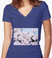 Lovely White Sakura Cherry Blossoms Spring Flowers Women's Fitted V-Neck T-Shirt