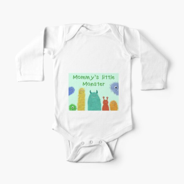 """""""Mommy's little monster"""" Long Sleeve Baby One-Piece"""