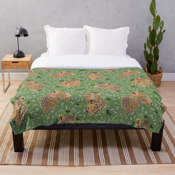 Leopards In The Jungle On A Green Background Throw Blanket