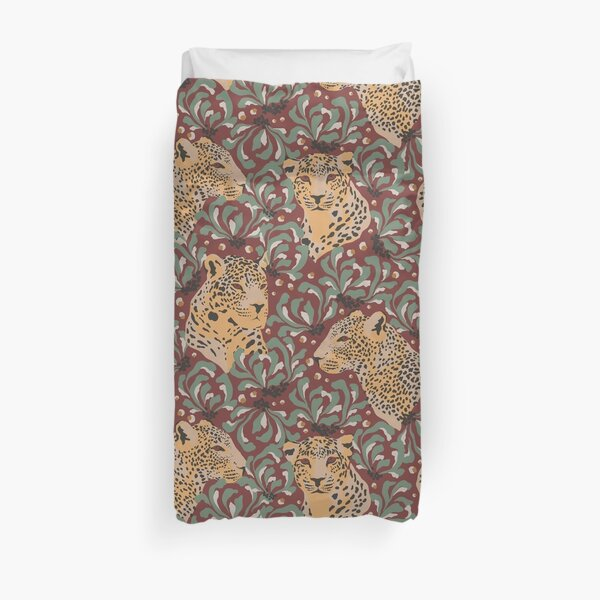 Leopards In The Jungle On A Spiced Apple Background Duvet Cover
