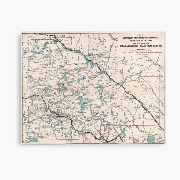 1922 Algonquin Park Ontario Vintage Map Canvas Print